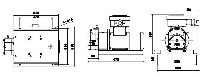 FG601S-A3变频防爆电机型蠕动泵尺寸图